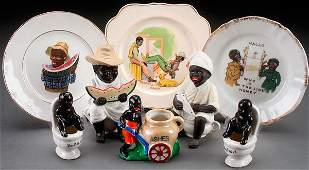 8 PIECE BLACK AMERICANA NOVELTY PORCELAIN