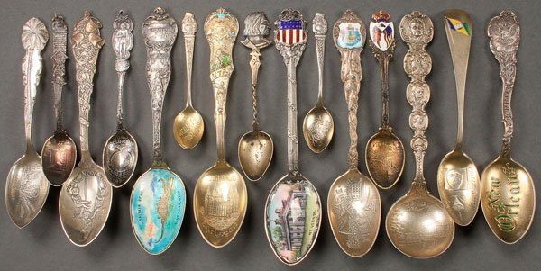 15 BETTER QUALITY STERLING SILVER SOUVENIR SPOONS