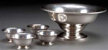 A FIVE PIECE STERLING SILVER GROUP, 20TH CENTURY.