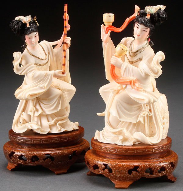 TWO  CHINESE CARVED IVORY  CELESTIAL BEAUTIES