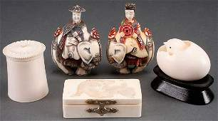A FIVE PIECE CARVED IVORY GROUP