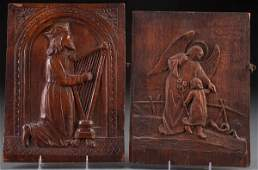 A PAIR OF CARVED WOOD PANELS 18TH OR 19TH CENTUR