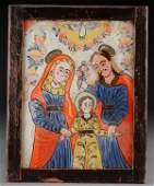 A ROMANIAN OR BOHEMIAN REVERSE PAINTED GLASS ICON
