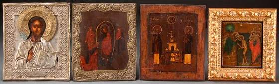 A GROUP OF FOUR RUSSIAN ICONS  Comprising the Lo