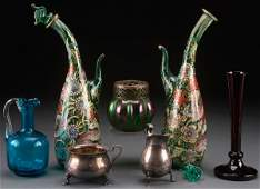 A SEVEN PIECE GLASS AND DECORATIVE ARTS GROUP