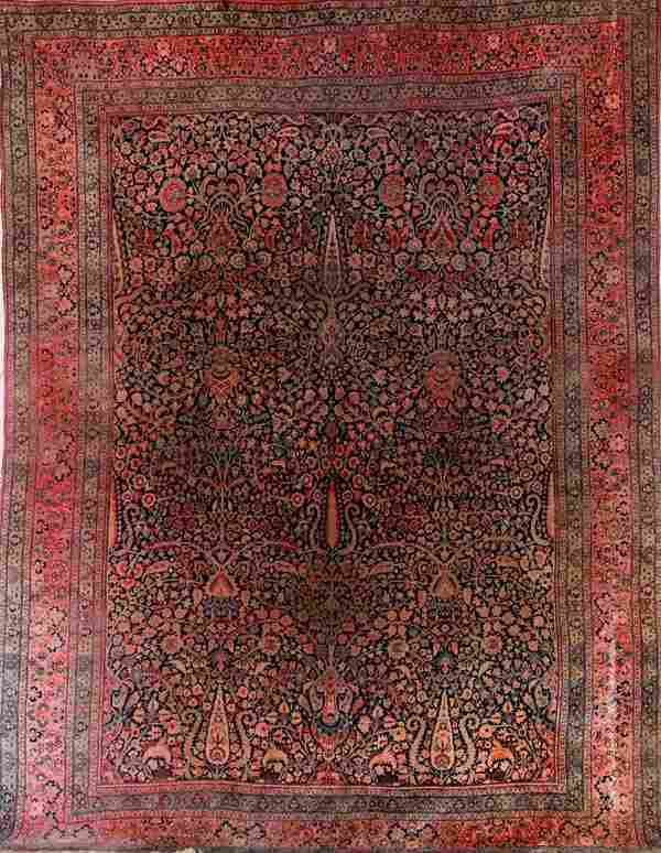 A ROOM SIZED PERSIAN HAND WOVEN ORIENTAL CARPET,