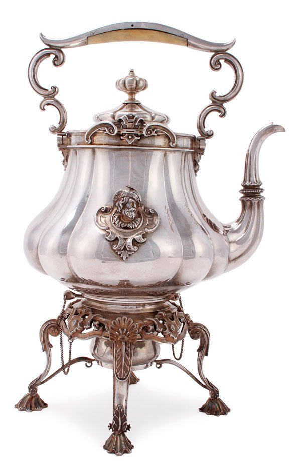 A LARGE RUSSIAN SILVER KETTLE, SAZIKOV