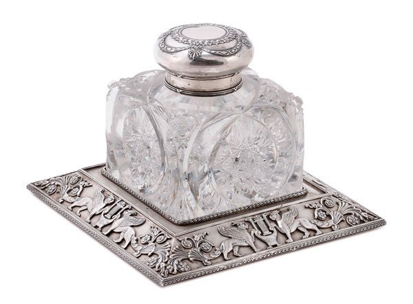 A RUSSIAN SILVER AND CUT GLASS INKWELL