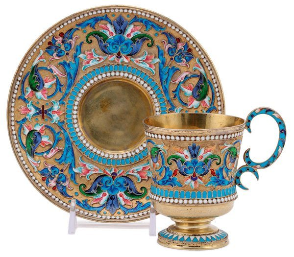 A RUSSIAN SILVER-GILT & ENAMELED CUP  AND SAUCER
