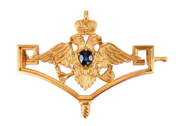 A RUSSIAN GOLD IMPERIAL PRESENTATION BROOCH