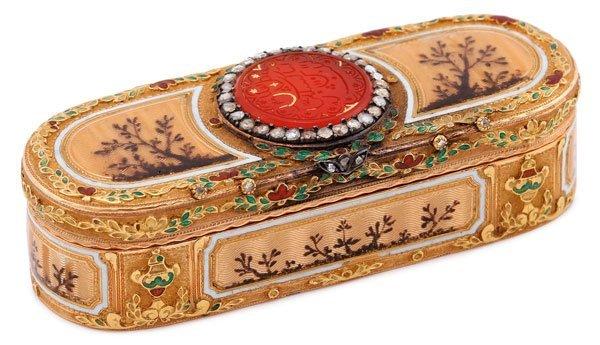 18K GOLD ENAMELED SNUFF BOX, 19TH CENTURY