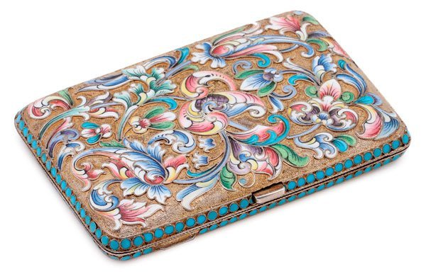 A RUSSIAN SILVER-GILT AND SHADED ENAMEL CASE
