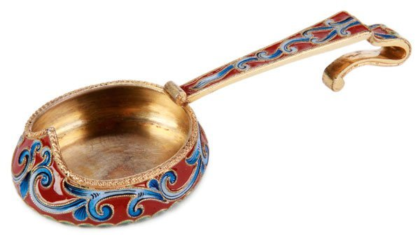 A RUSSIAN SILVER-GILT AND SHADED ENAMELED KOVSH
