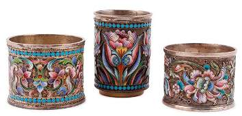 THREE RUSSIAN SILVERGILT AND ENAMELED ITEMS