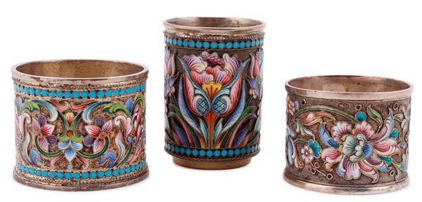 THREE RUSSIAN SILVER-GILT AND ENAMELED ITEMS