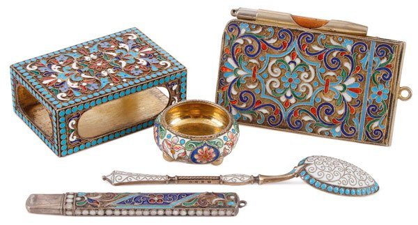 FOUR RUSSIAN SILVER-GILT AND ENAMEL ITEMS