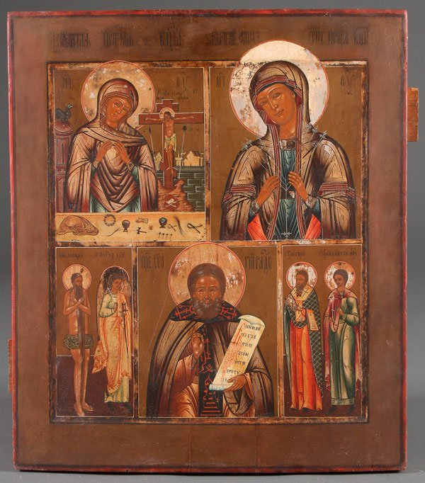 A FINE AND LARGE MULTIPLE SCENE RUSSIAN ICON