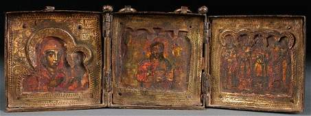 A RUSSIAN ICON TRIPTYCH, 18TH CENTURY