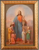 A LARGE RUSSIAN ICON BLESSING OF THE CHILDREN