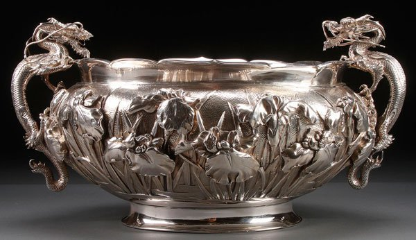 LARGE JAPANESE SILVER DRAGON BOWL, SIGNED