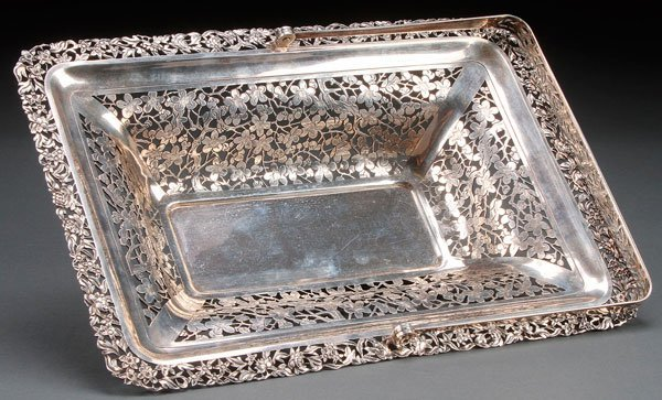 A CHINA TRADE SILVER RETICULATED BASKET, LATE 19TH C