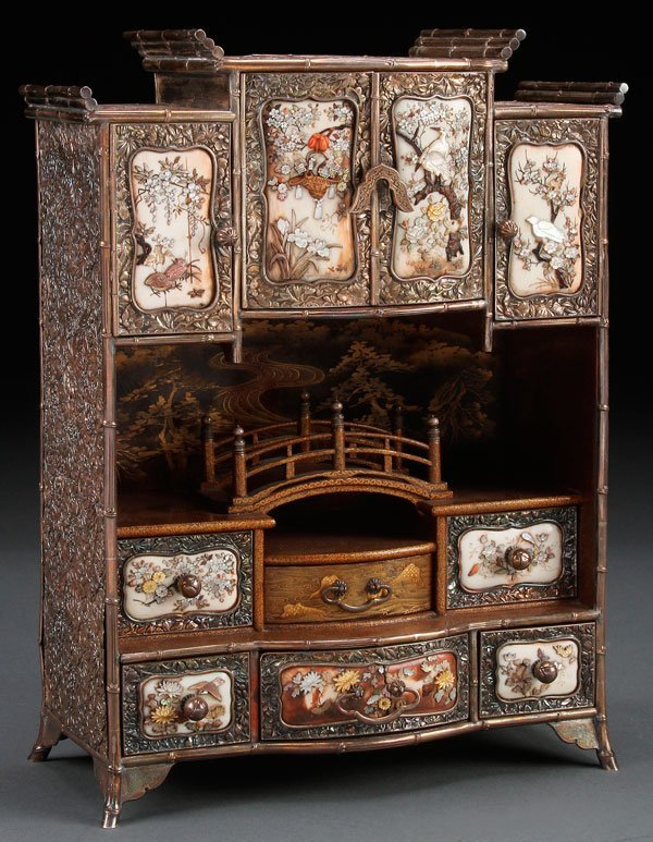 A VERY FINE JAPANESE SILVER AND SHIBAYAMA CABINET