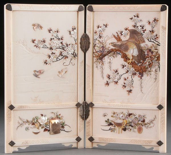 A FINE JAPANESE CARVED IVORY AND SHIBAYAMA TABLE SCREEN