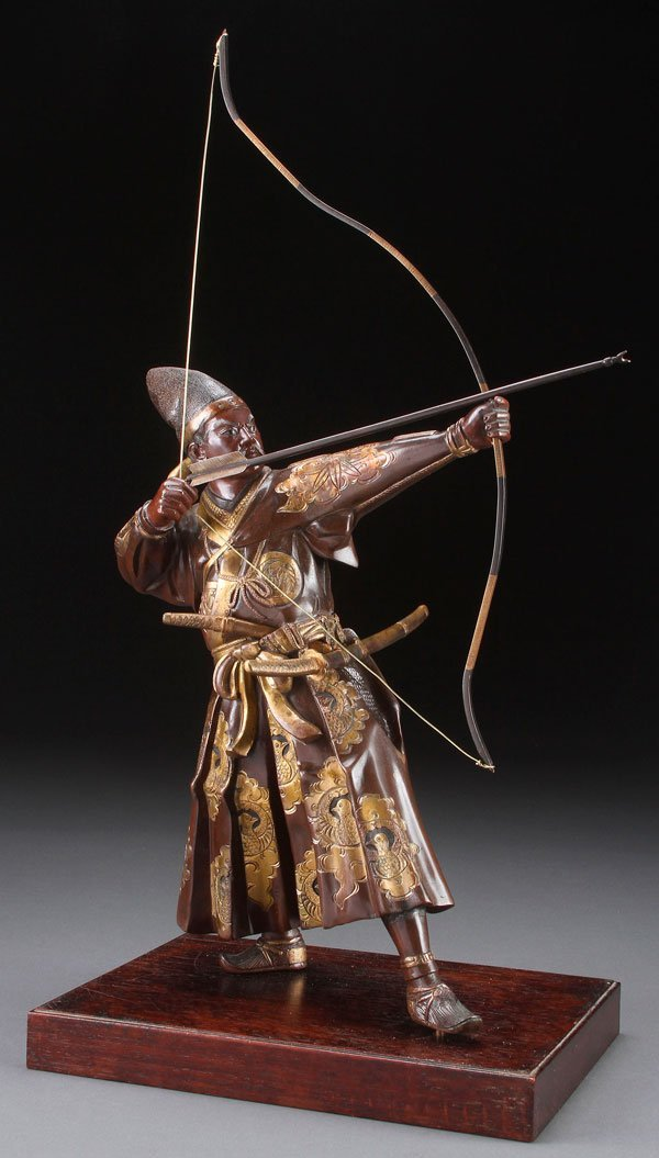 JAPANESE PATINATED AND PARCEL GILT BRONZE ARCHER MEIJI
