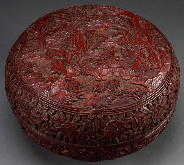 A VERY FINE CHINESE QING DYNASTY CARVED CINNABAR BOX