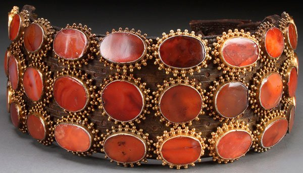 A  MONTENEGRO CARNELIAN MOUNTED LEATHER JAKICAR 18TH C