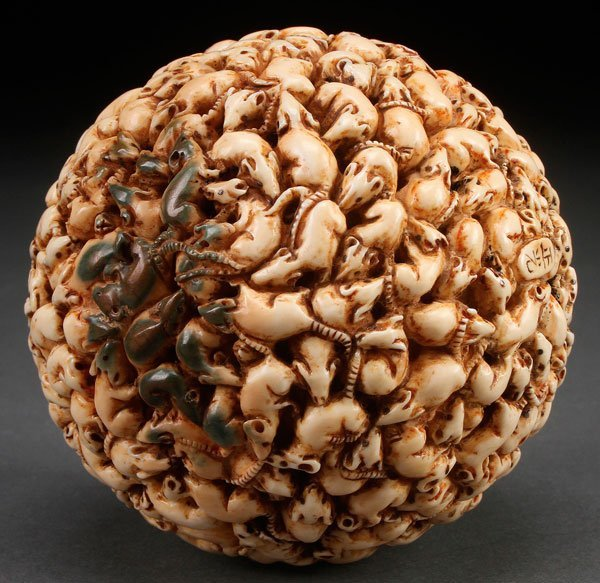 """A JAPANESE CARVED IVORY """"1,000 RATS"""" BALL, MEIJI - 3"""