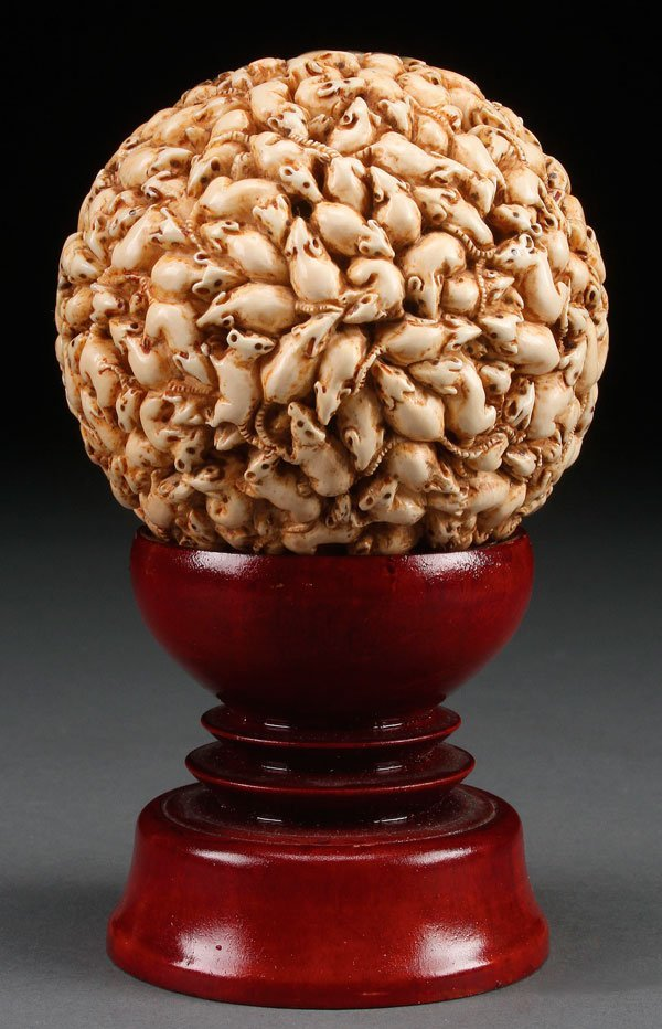 """A JAPANESE CARVED IVORY """"1,000 RATS"""" BALL, MEIJI - 4"""