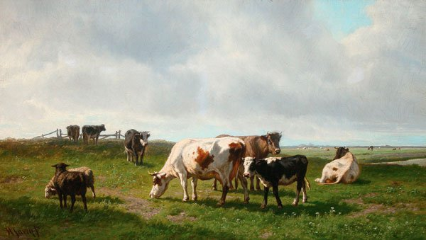 LARGE DUTCH PASTORAL PAINTING, SIGNED, 19TH C