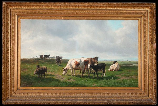 LARGE DUTCH PASTORAL PAINTING, SIGNED, 19TH C - 2