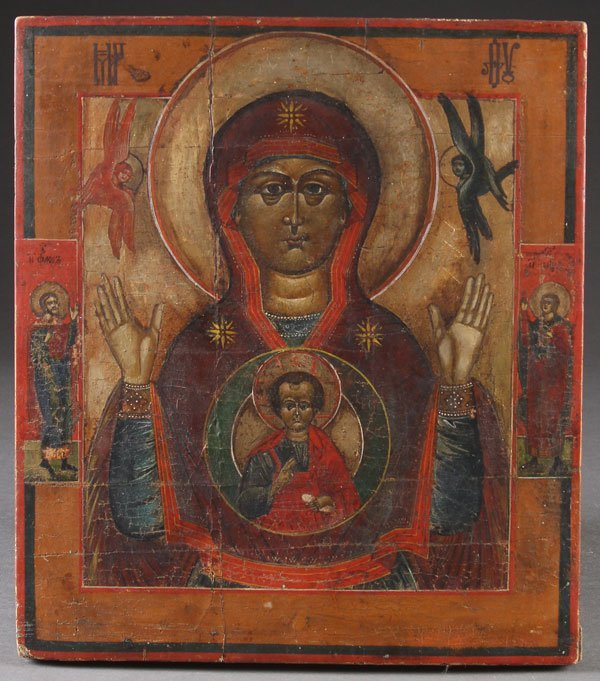 A RUSSIAN ICON OF THE SIGN MOTHER OF GOD