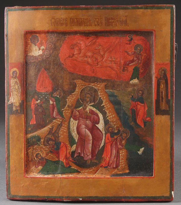 A RUSSIAN ICON OF THE FIERY ASCENSION OF THE PROP