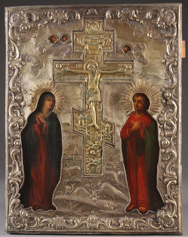A LARGE RUSSIAN ICON OF THE CRUCIFIXION, 19TH CEN
