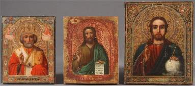 A GROUP OF THREE RUSSIAN ICONS CIRCA 1890 Compr