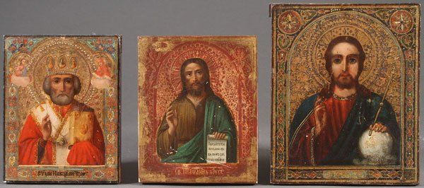 A GROUP OF THREE RUSSIAN ICONS, CIRCA 1890. Compr
