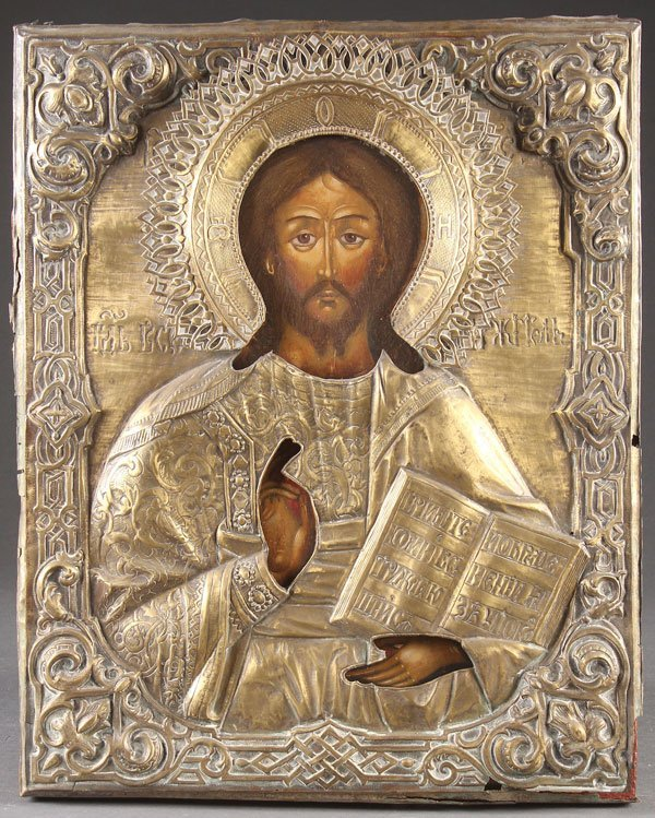 A LARGE RUSSIAN ICON OF CHRIST THE LORD ALMIGHTY,