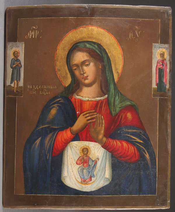 A LARGE RUSSIAN ICON OF THE MOTHER OF GOD, 19TH C