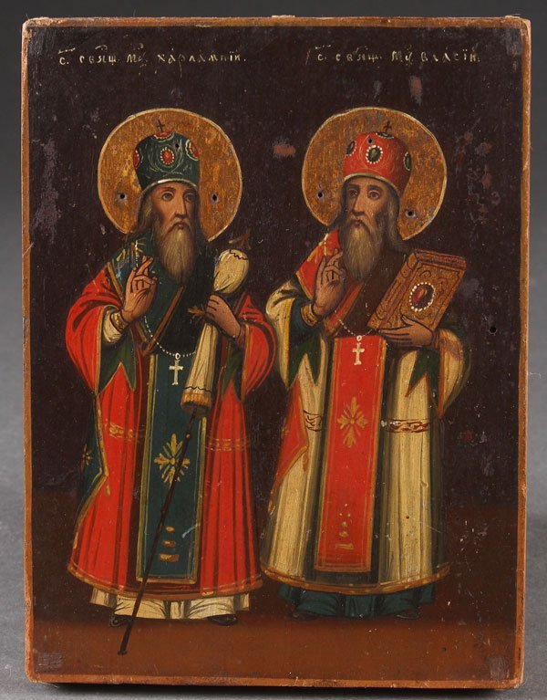 A RUSSIAN ICON OF SAINTS KHARLAMPIY AND VASILIY,