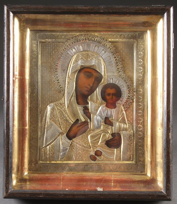 A RUSSIAN ICON OF THE SMOLENSK MOTHER OF GOD, 19T