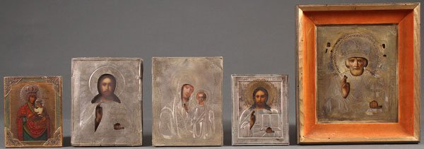 A GROUP OF FIVE RUSSIAN ICONS. Comprising an icon