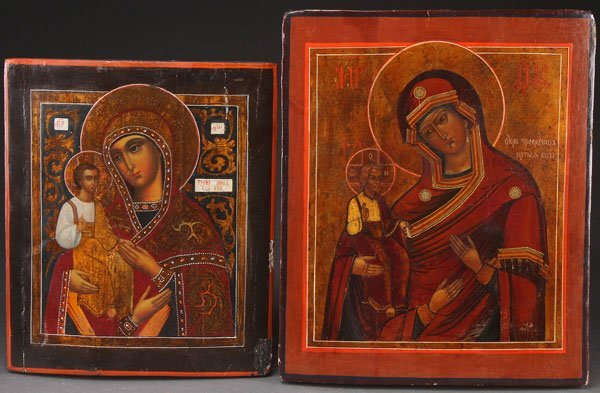 A PAIR OF RUSSIAN ICONS BOTH DEPICTING THE THREE