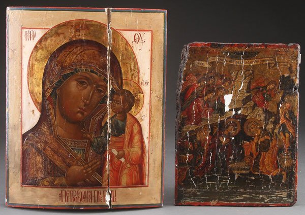 A PAIR OF ICONS, 19TH AND 20TH CENTURY.  Comprisi