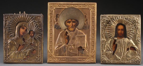 A GROUP OF THREE RUSSIAN ICONS, 19TH CENTURY.  Co