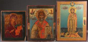 A GROUP OF THREE RUSSIAN ICONS 19TH AND 20TH CEN