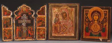 THREE RUSSIAN ICONS, 19TH AND 20TH CENTURY. Compr