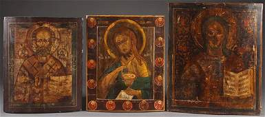 THREE LARGE RUSSIAN ICONS CIRCA 1850 Comprising